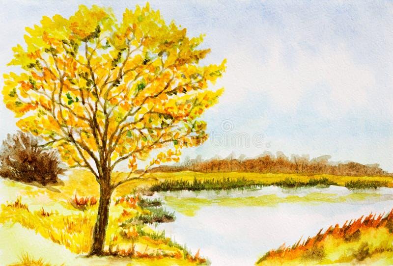 vattenfärg för park för höstbroliggande liten royaltyfri illustrationer