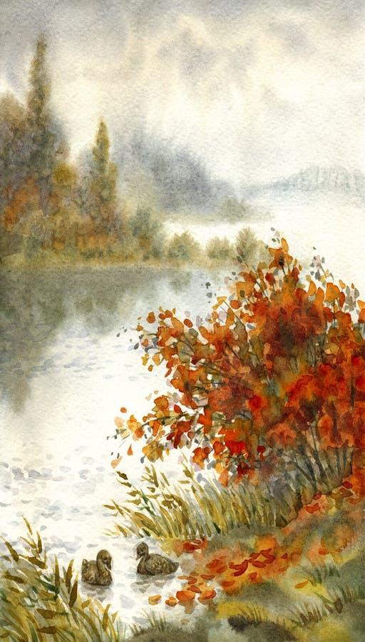 vattenfärg för park för höstbroliggande liten Skissa av höstsjön stock illustrationer