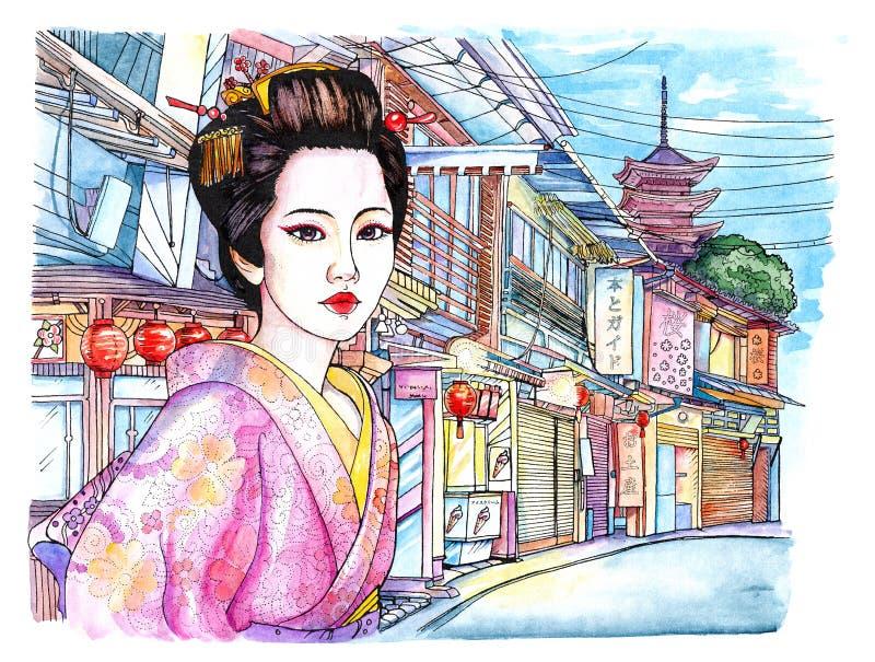 Vattenfärg härlig ung japansk kvinna royaltyfri illustrationer