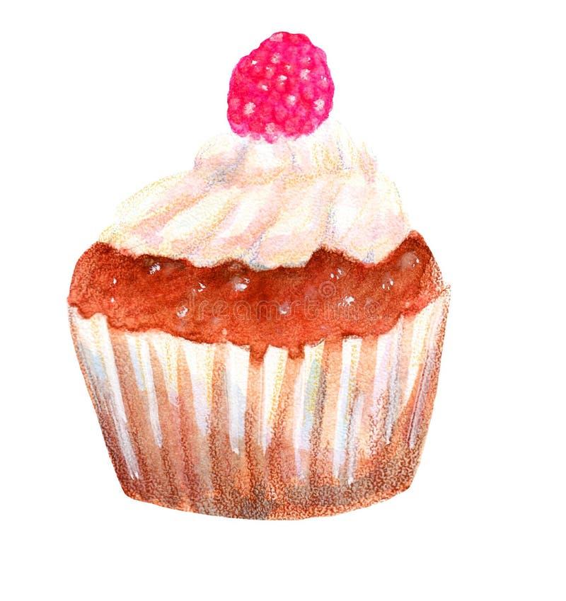 Vattenfärg isolerad smaklig kaka med ett bär stock illustrationer