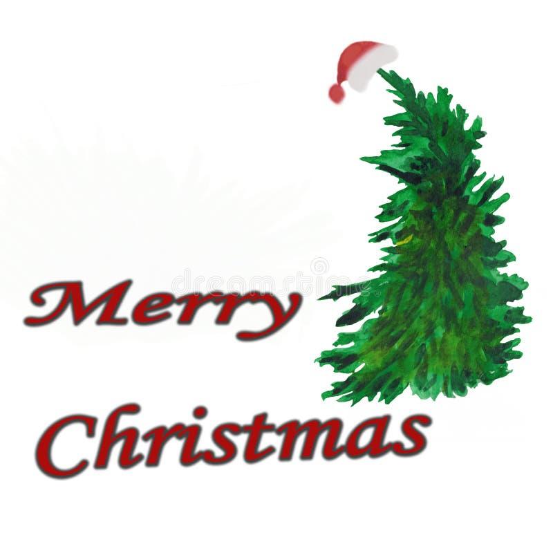 vattenfärg Julsammansättning av granen i ett lock med inskriften stock illustrationer