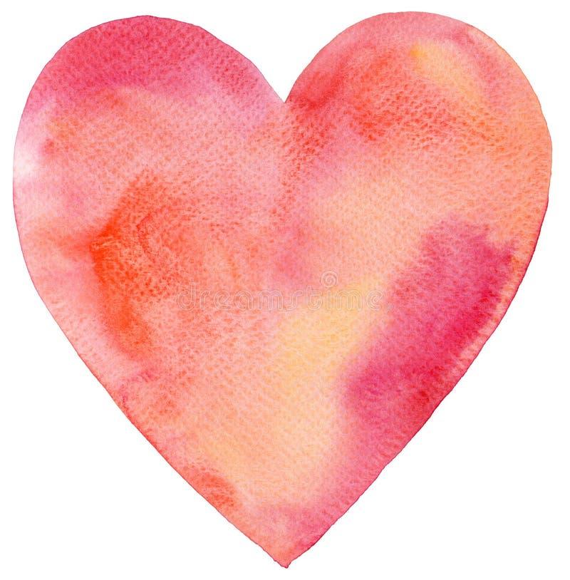 Vattenfärg målad röd hjärta royaltyfria foton