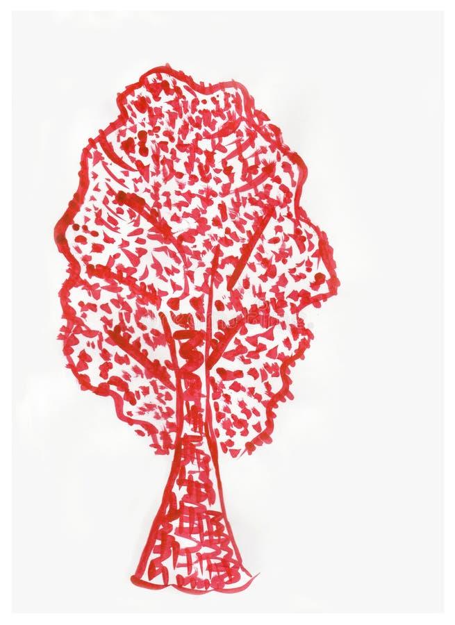 Vattenfärg målat träd på vitboken royaltyfri illustrationer