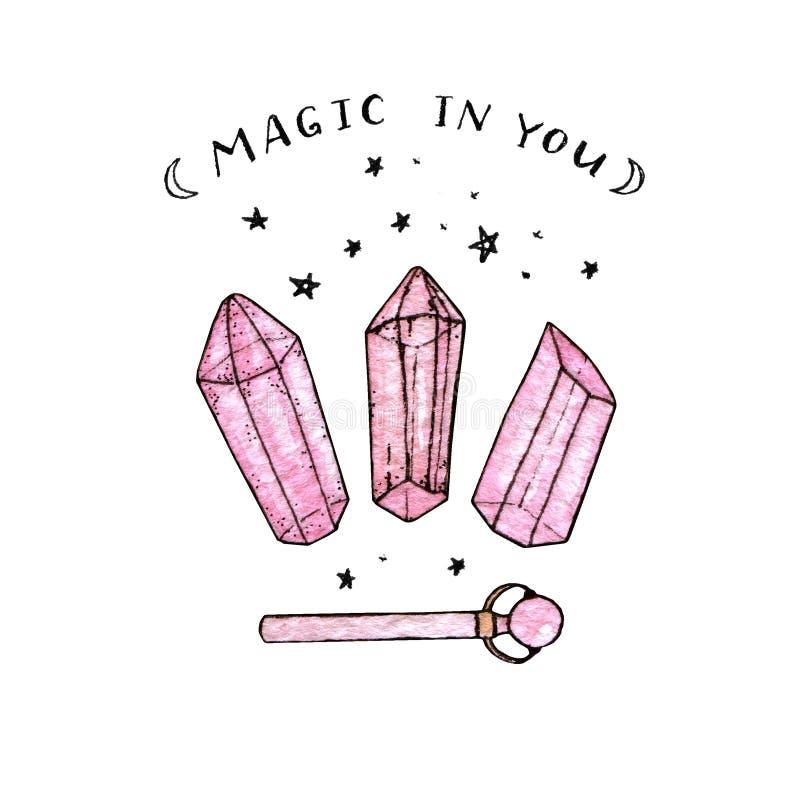 Vattenfärg- och färgpulverhanden målade rosa kristaller och trollstaven royaltyfri illustrationer