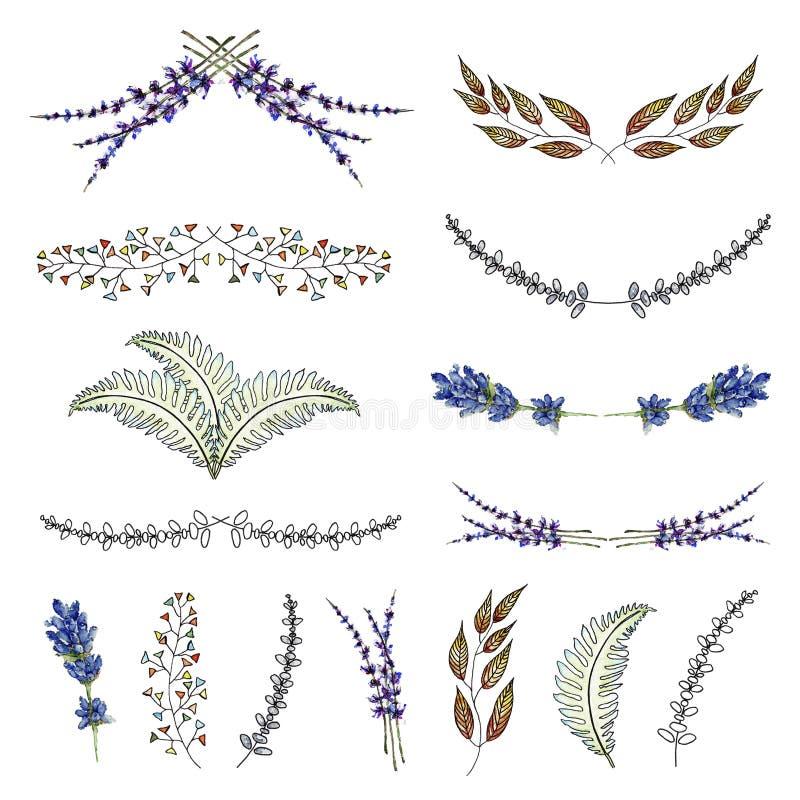 Vattenfärg- och färgpulverkransar royaltyfri illustrationer