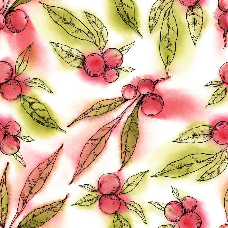 Vattenfärg- och pennillustration Rött bär med gröna leaves royaltyfri illustrationer
