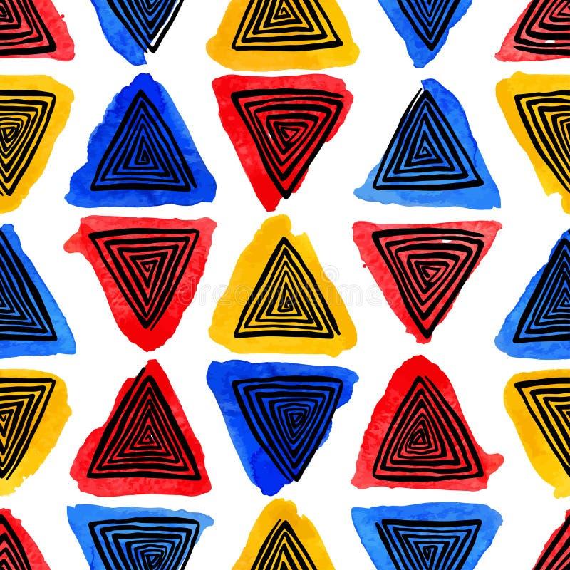 Vattenfärg och spirala trianglar för svart vektor illustrationer
