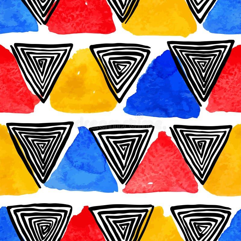 Vattenfärg och spirala trianglar för svart royaltyfri illustrationer