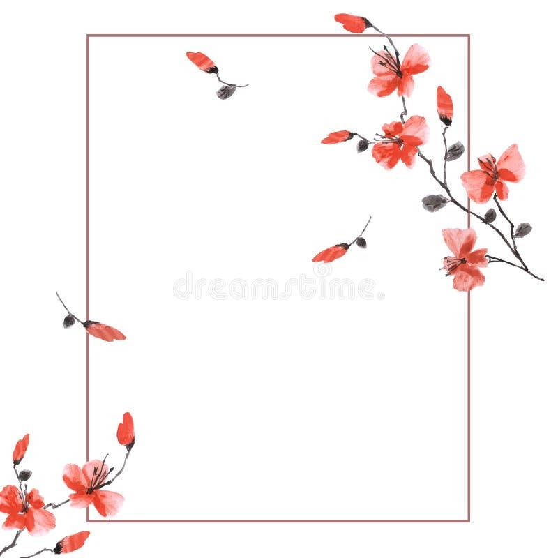 Vattenfärg som blomstrar vårfilialen med röda blommor på en vit bakgrund Blom- garnering kanin f?r f?delsedagkortg?va vektor illustrationer