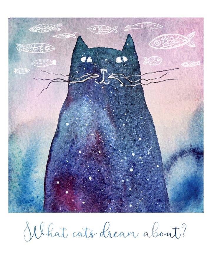 Vattenfärg som drömmer katten royaltyfri illustrationer