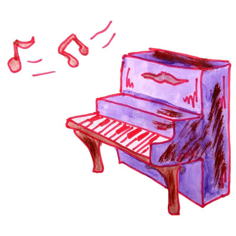 Vattenfärg som drar ett barntecknad filmpiano på en vit backgroun stock illustrationer