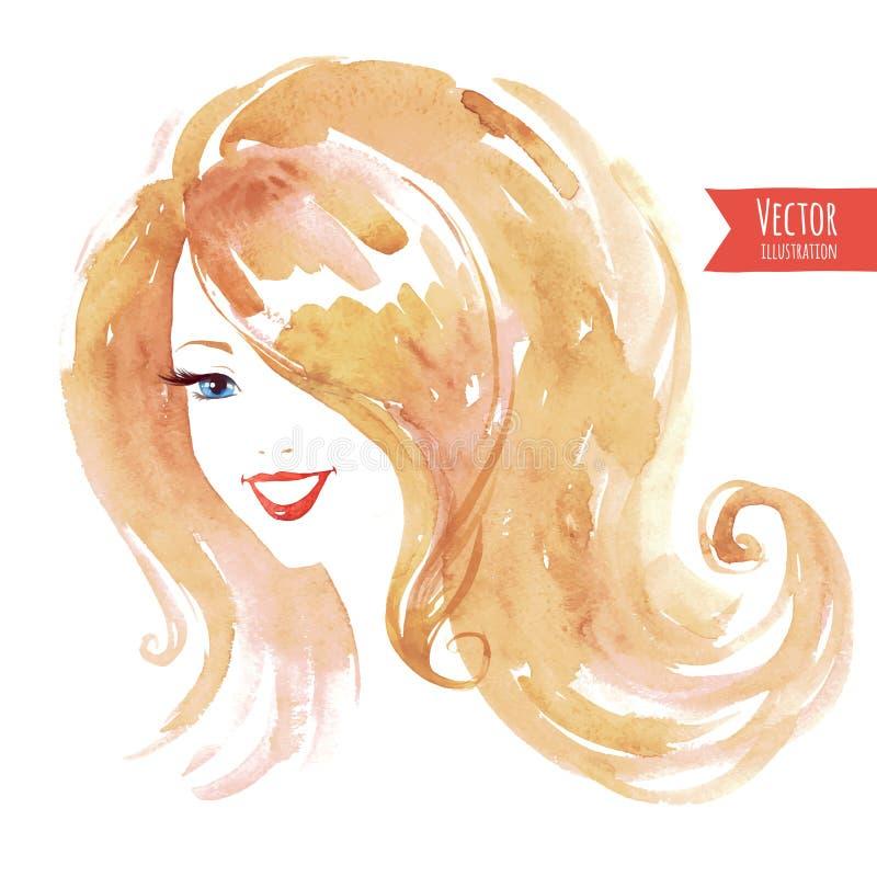 Vattenfärg som ler flickan royaltyfri illustrationer
