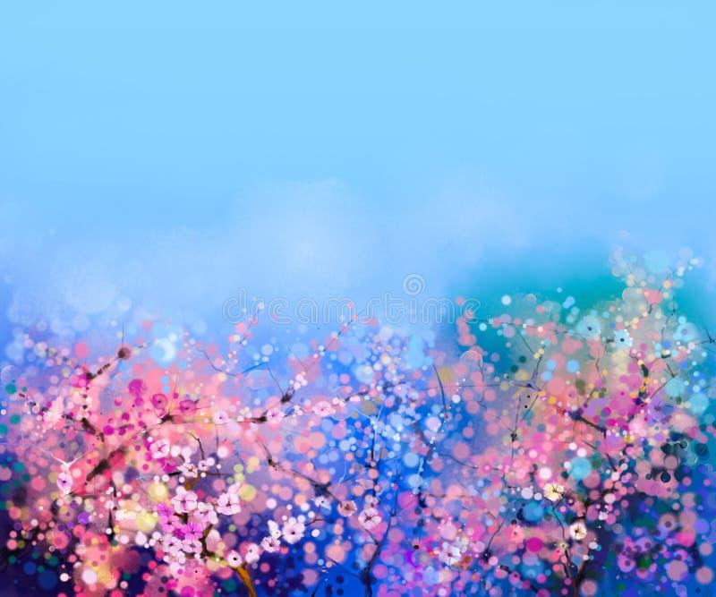 Vattenfärg som målar körsbärsröda blomningar - japansk körsbär royaltyfria bilder