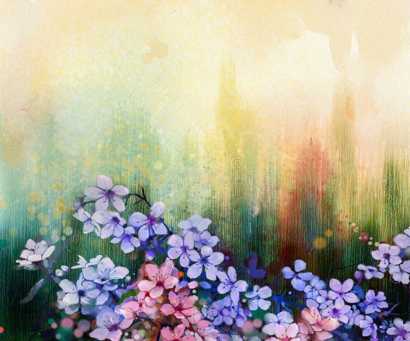 Vattenfärg som målar körsbärsröda blomningar, japansk körsbär, rosa Sakura vektor illustrationer