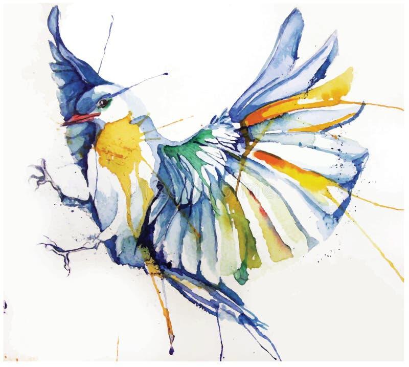 Vattenfärg-stil vektorillustration av fågeln stock illustrationer