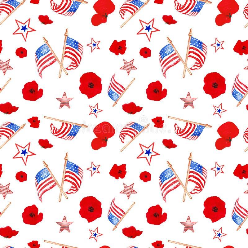 Vattenfärg 4th av juli den sömlösa modellen i röda, blåa och vita färger av USA-flaggan Tradirional symboler av minnesdagen som i royaltyfri illustrationer