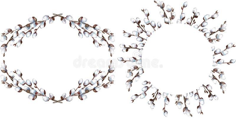 Vattenfärg två vred pilramar som isolerades på vit bakgrund Ägg, knäpp blomma och randig torkduk vektor illustrationer