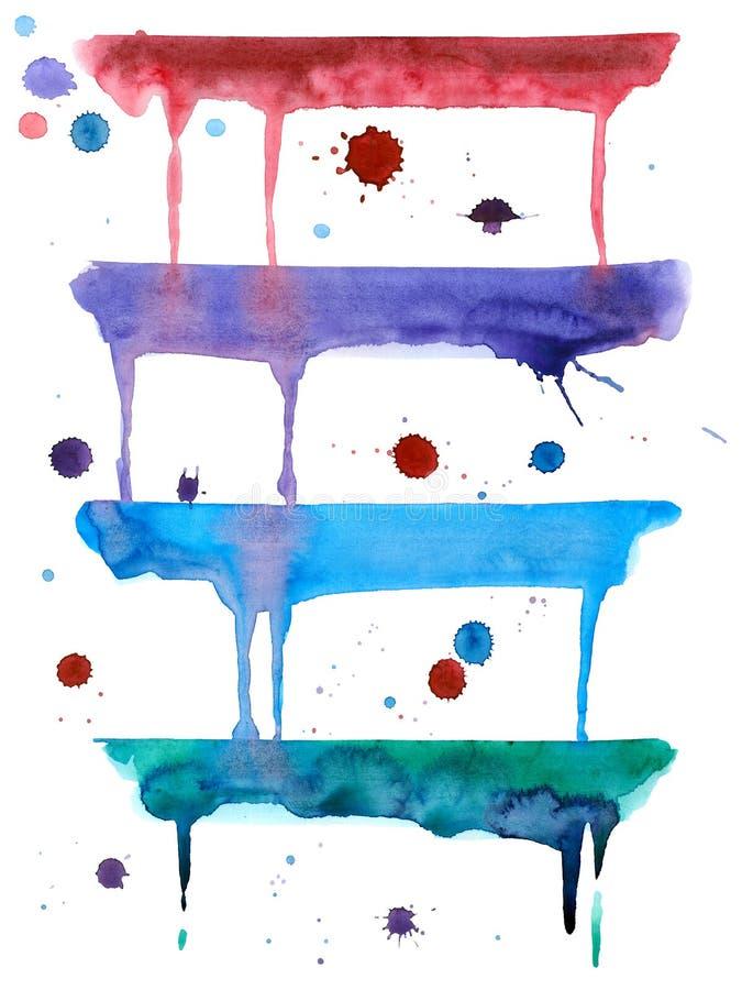 Vattenfärgabstrakt begrepp dryper och tappar royaltyfri illustrationer