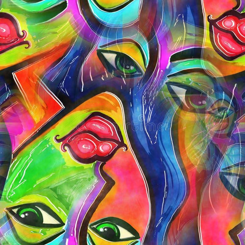 Vattenfärgabstrakt begreppframsida av en kvinna stock illustrationer