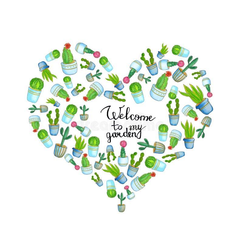 Vattenfärgad hjärtmall med hakkaktus och handdragna bokstäver - välkomna till min trädgård Insamling av blomkrukor royaltyfri illustrationer