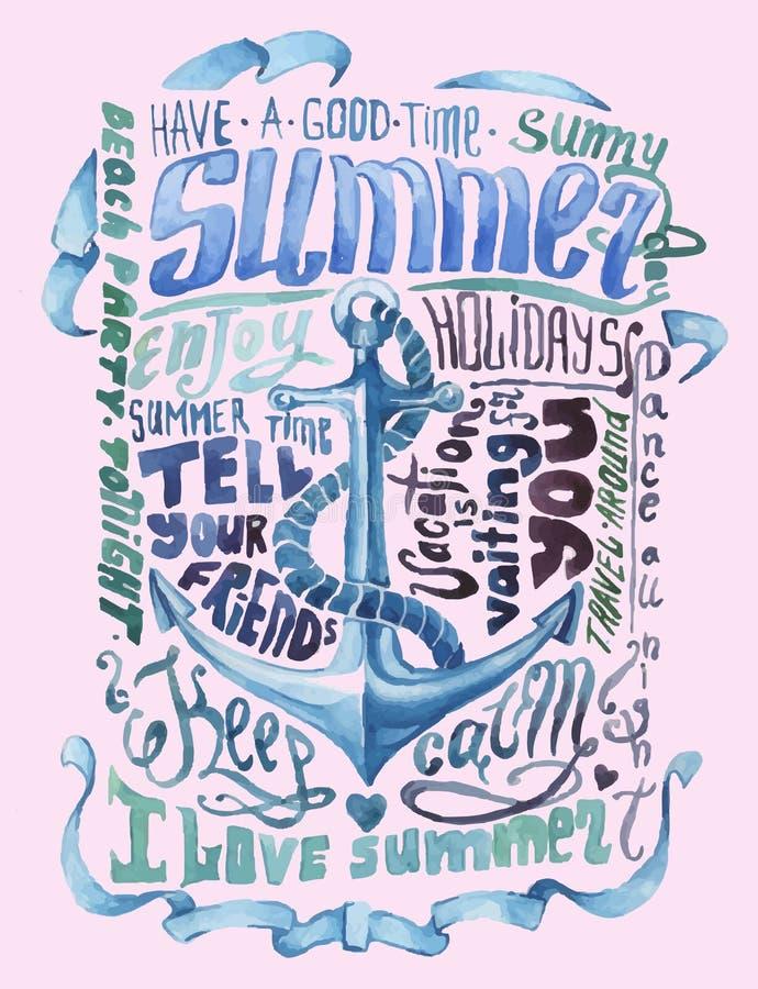 Vattenfärgaffisch Lyckligt nytt år stock illustrationer