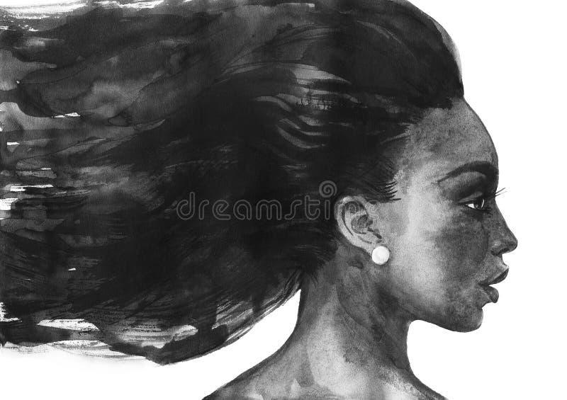 Vattenfärgafrikankvinna vektor illustrationer