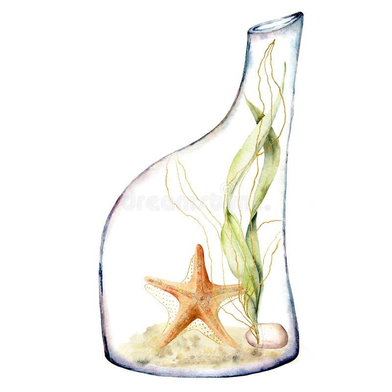 Vattenfärgakvarium i en flaska Handen målade den undervattens- sjöstjärnan, alger och stenen på sanden som isolerades på vit royaltyfri illustrationer