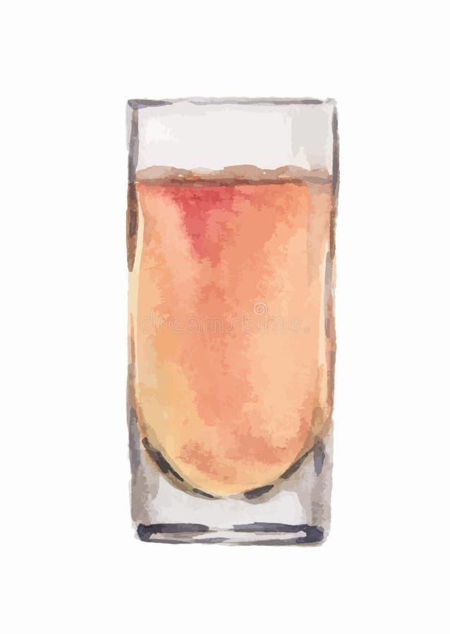 Vattenfärgalkoholexponeringsglas stock illustrationer