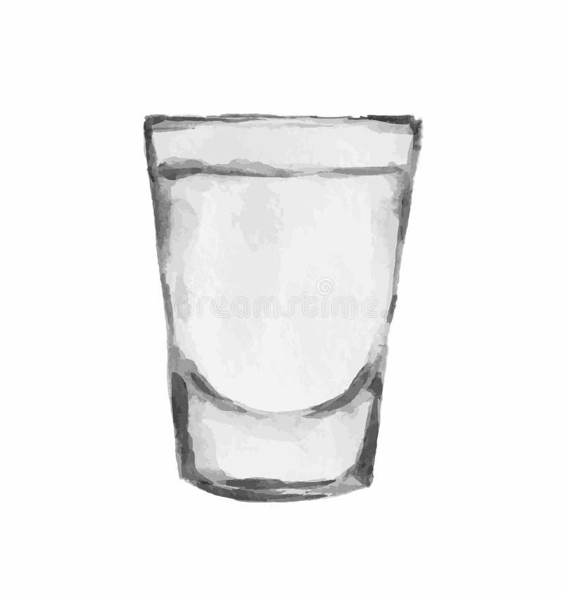 Vattenfärgalkoholexponeringsglas royaltyfri illustrationer
