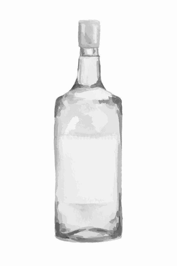 Vattenfärgalkoholflaska stock illustrationer