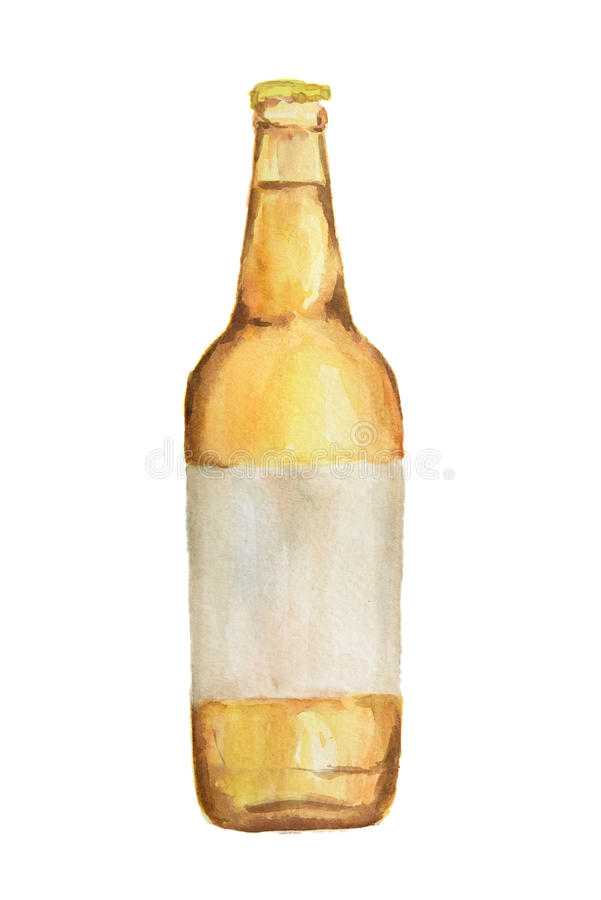 Vattenfärgalkoholflaska royaltyfri illustrationer