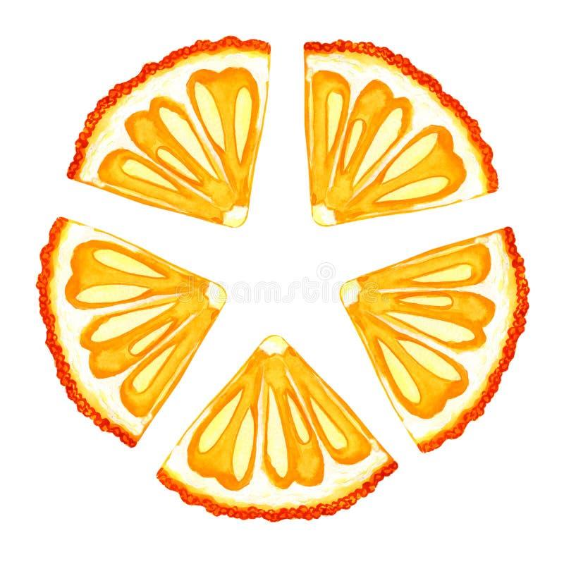 Vattenfärgapelsin, mandarin, glass Design av trycket, etikett, meny, kafé som annonserar, baner, affisch, tapet stock illustrationer
