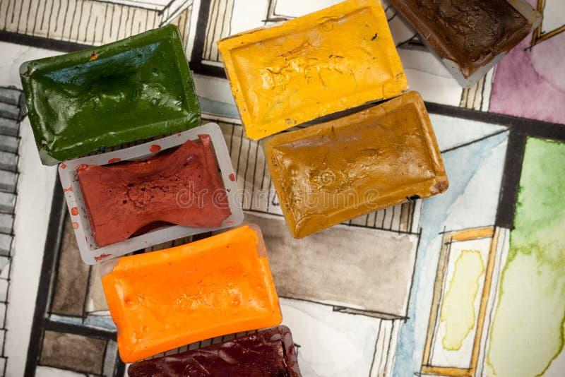 Vattenfärgaquarellen skissar med målarfärgkvarter som visar det partiska sovrumfragmentet av ett plan för golv för lägenhetandels royaltyfri illustrationer