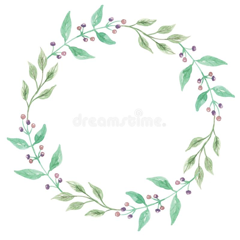 VattenfärgAutumn Fall Berry Wreath Green hand målad girland stock illustrationer