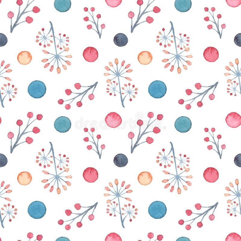 Vattenfärgbär och polka Dots Seamless Pattern stock illustrationer