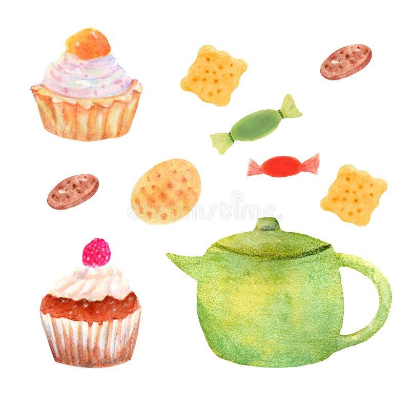 Vattenfärgbagerit ställde in med kakor och kakor royaltyfri illustrationer