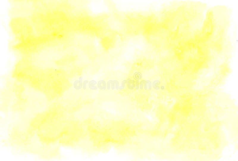 Vattenfärgbakgrund för texturer måla yellow royaltyfri fotografi