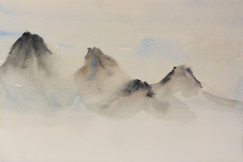 Vattenfärgbakgrund i klassiska berg för kinesisk stil stock illustrationer