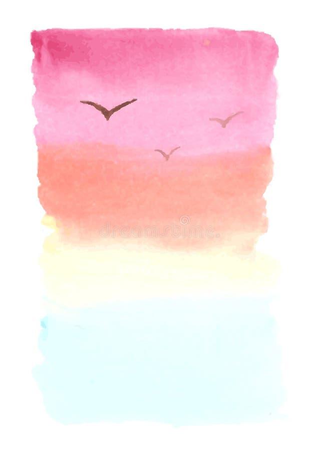 Vattenfärgbakgrund, landskap med havet, solnedgång stock illustrationer