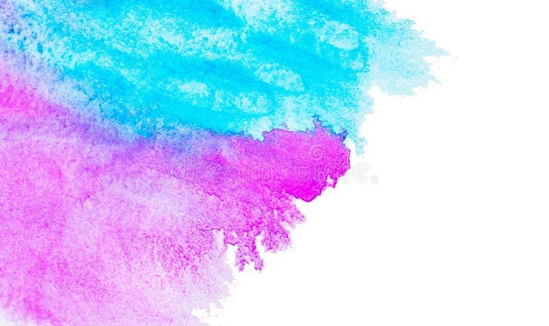 Vattenfärgbakgrund, målarfärgspridningen på papperet blå pink Isolerat på vit stock illustrationer