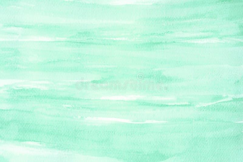 Vattenfärgbakgrund, målning för vattenfärg för konstabstrakt begreppgräsplan texturerade design på vitbokbakgrund vektor illustrationer