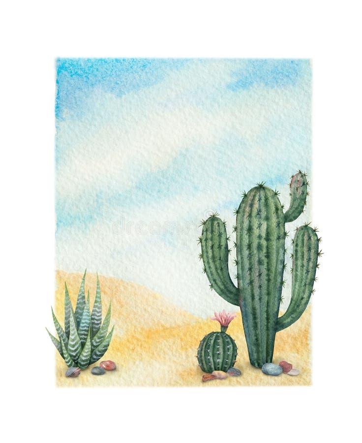 Vattenfärgbakgrund med öknen och kakturs royaltyfria foton