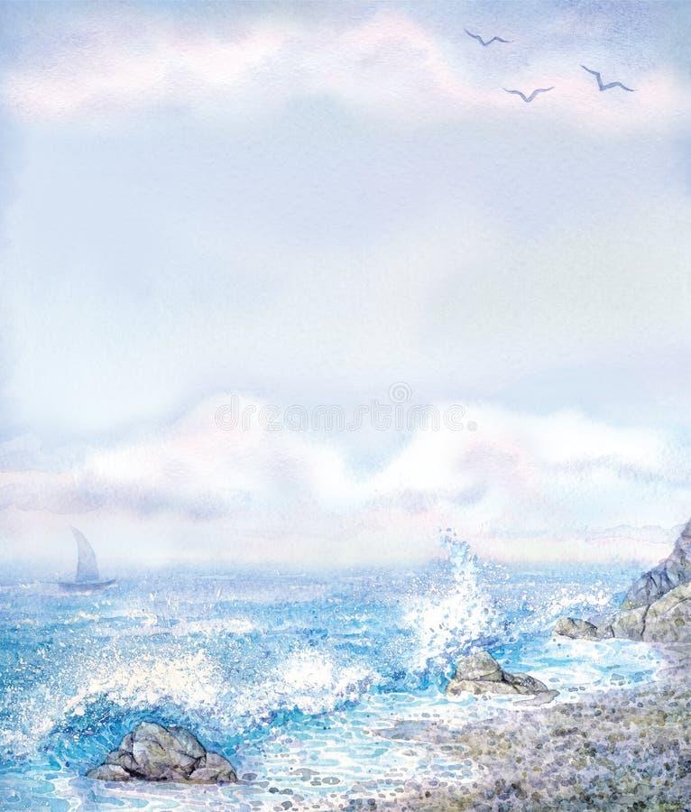 Vattenfärgbakgrund med att skumma bränning från den steniga kusten royaltyfri illustrationer
