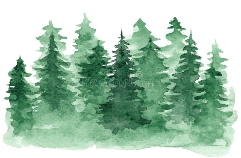 Vattenfärgbakgrund med den gröna barrskogen royaltyfri illustrationer