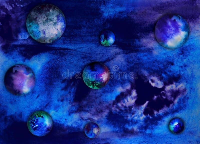 Vattenfärgbakgrund med färgrika sfärer i utrymme stock illustrationer