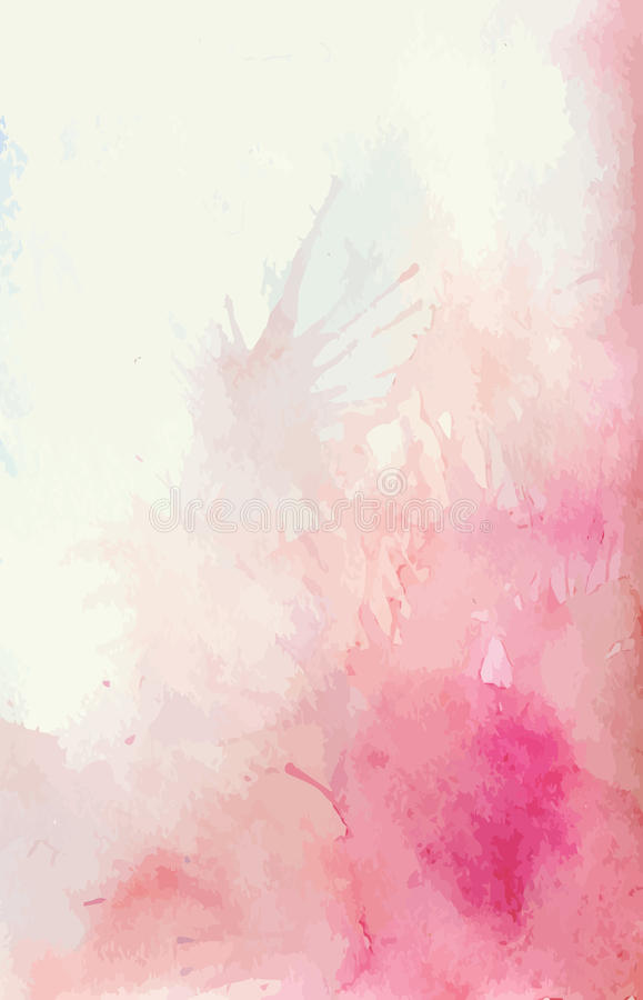 Vattenfärgbakgrund med färgstänk av rosa färg- och anbudfläckar stock illustrationer