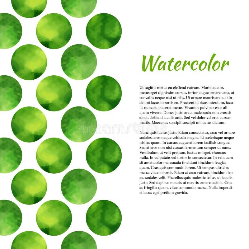 Vattenfärgbakgrund med gröna cirklar abstrakt bakgrund Vektorvattenfärg för broschyr, baner, affisch eller rengöringsdukdesign Te stock illustrationer