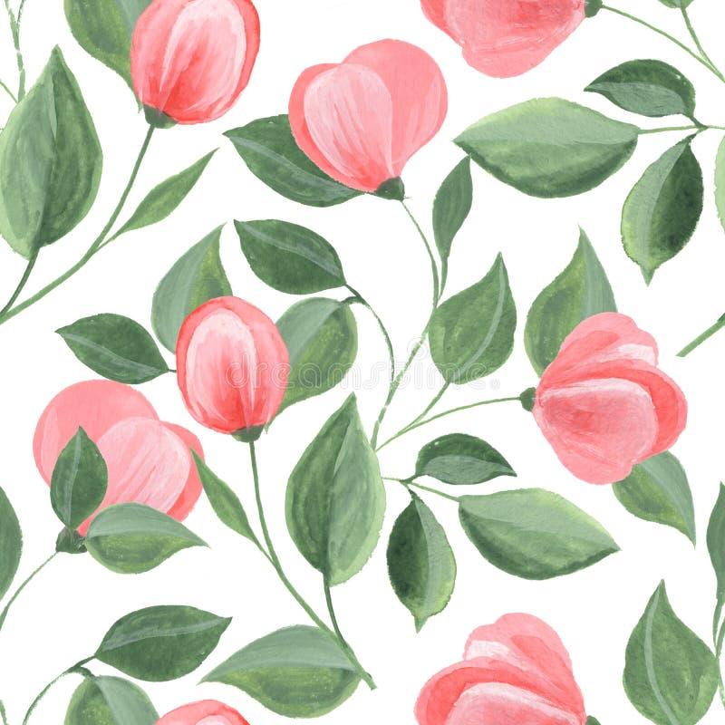Vattenfärgbakgrund med röda blommor stock illustrationer