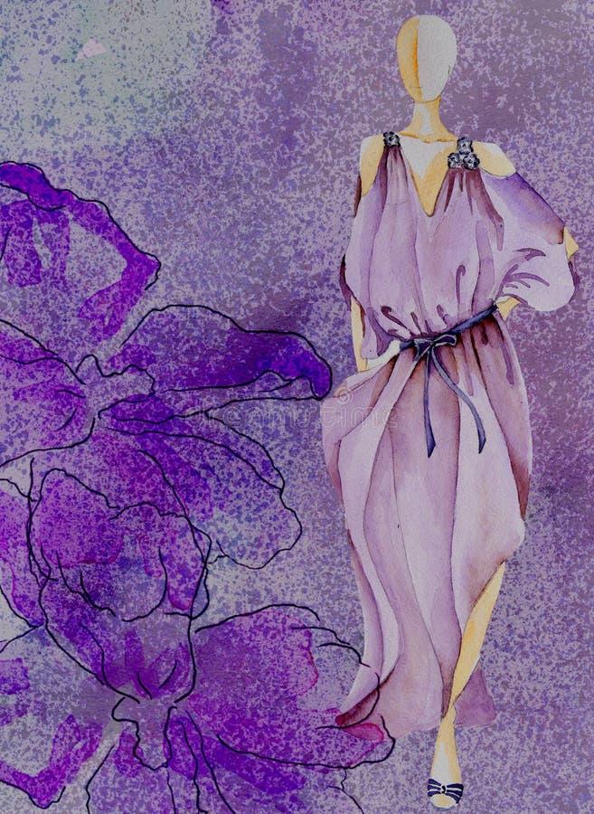 Vattenfärgbakgrund med vattenfärgblomman och att skissa modellen fotografering för bildbyråer