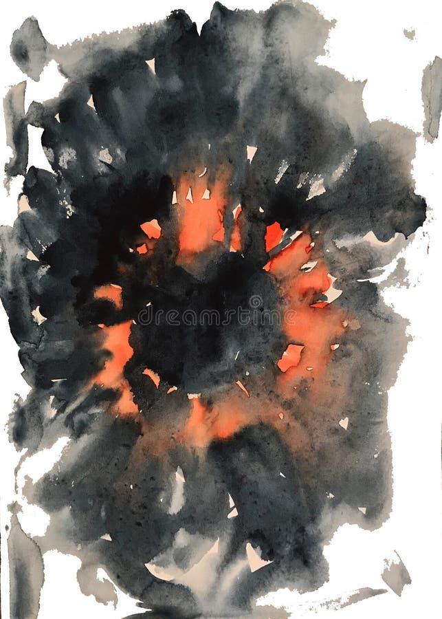 Vattenfärgbakgrund som är liknande till ett vulkanutbrott, en ljusblixt, brand vektor illustrationer